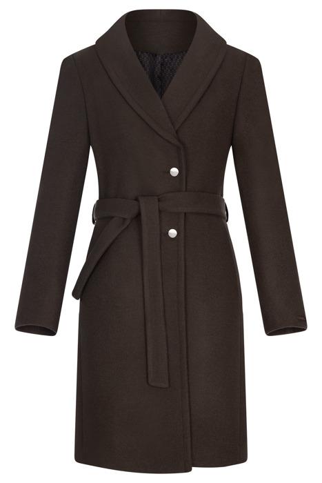 Płaszcz damski zimowy Moris Ada khaki z paskiem