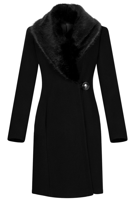 Płaszcz damski zimowy Szalowy czarny z wełną
