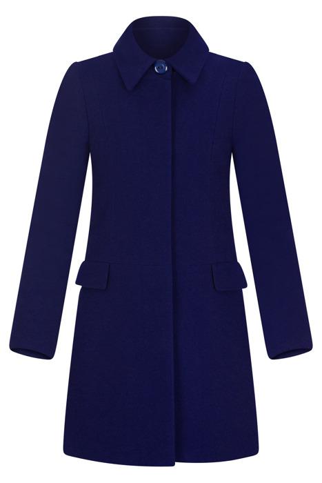 Płaszcz zimowy Caro Fashion 001 atramentowy z kołnierzykiem wełna