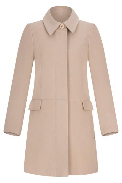 Płaszcz zimowy Caro Fashion 001 beżowy z kołnierzykiem wełna
