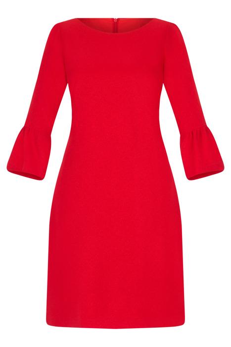 Sukienka Alina czerwona prosta ze srebrną nitką