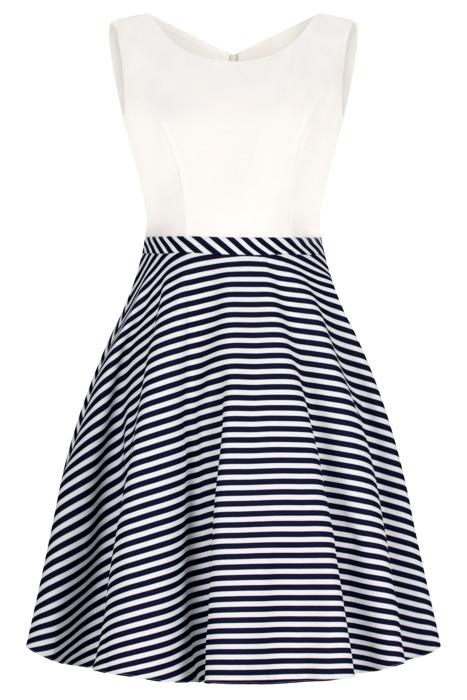 Sukienka Cller rozkloszowania ecru w marynarskim wzorze pin-up