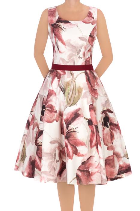 Sukienka Cller rozkloszowania w różowe kwiaty