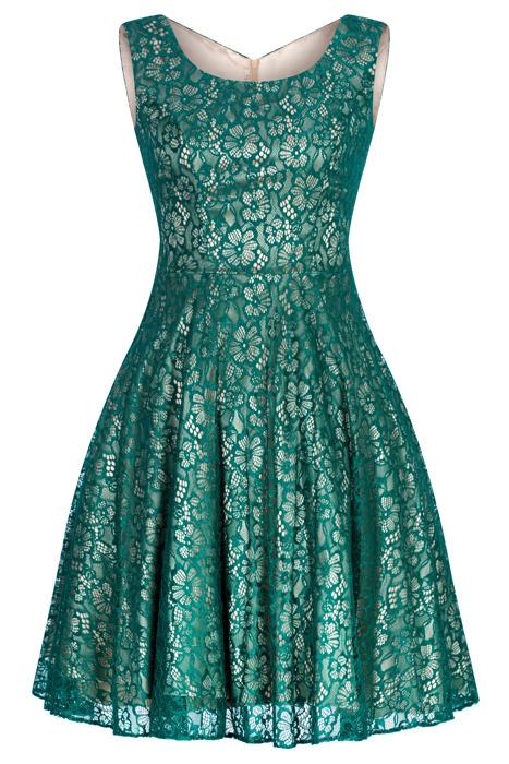 Sukienka Cller zielona rozkloszowana koronkowa