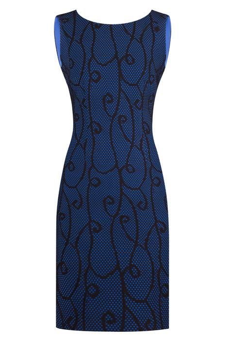 Sukienka Dagon 1919 chabrowa w koronkowy wzór