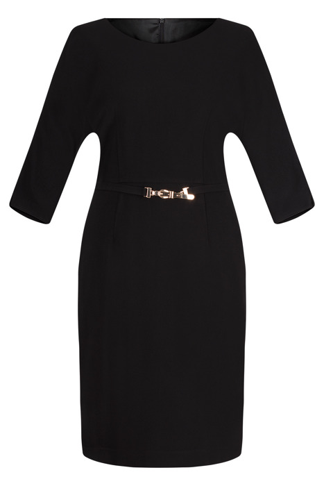 Sukienka Dagon 2167 czarna z paskiem w talii z raglanem