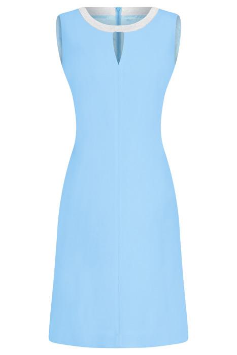 Sukienka Dagon 2299 jasny niebieski z ozdobną obwódką przy szyi