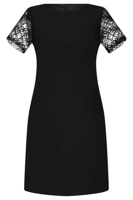 Sukienka Dagon 2345 czarna koronkowe rękawy