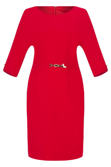 Sukienka Dagon 2493 czerwona z paskiem w talii z raglanem