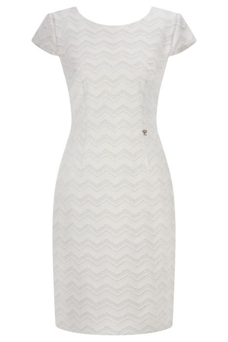 Sukienka Dagon 2567 biała w geometryczne wzory