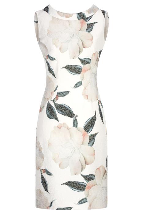 Sukienka Dagon 2617 ecru w kwiaty z bawełną