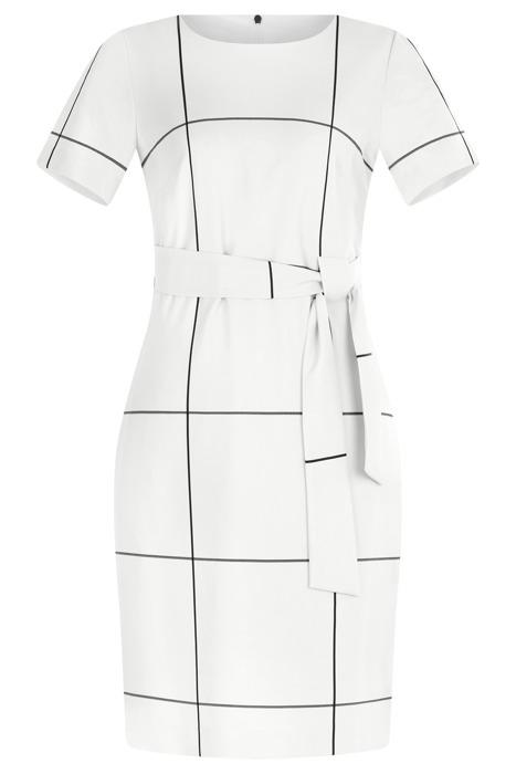 Sukienka Dagon 2620 biała w kratkę