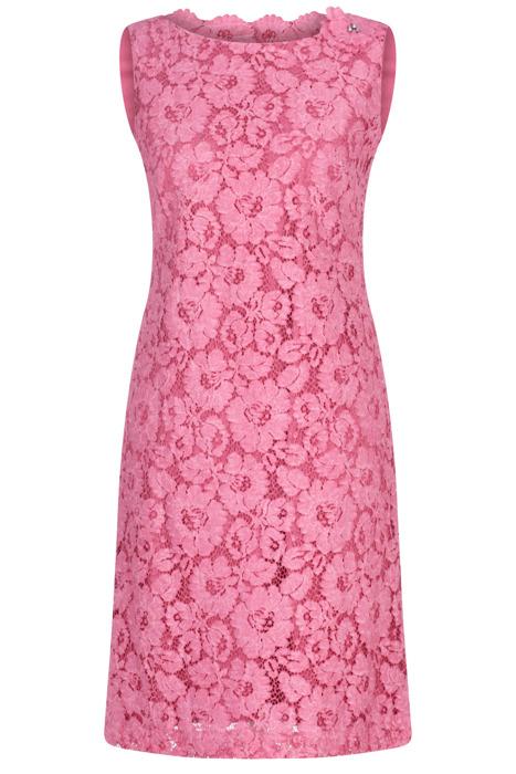 Sukienka Dagon 2629 koronkowa różowa z bawełną