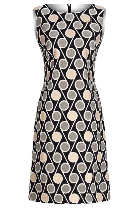 Sukienka Dagon 2637 czarna w geometryczne wzory z bawełną