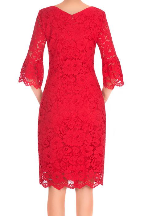 Sukienka Dagon 2658 czerwona koronka rękawy z falbanką
