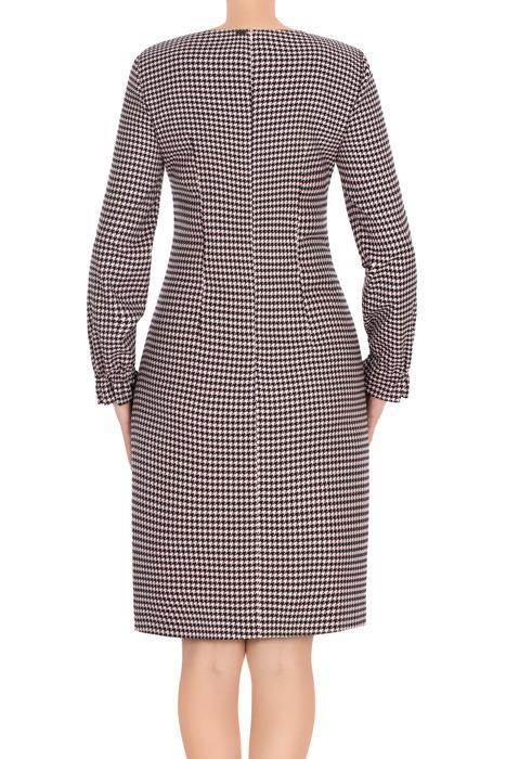 Sukienka Dagon 2705 w pepitkę różowo-czarną z kokardą