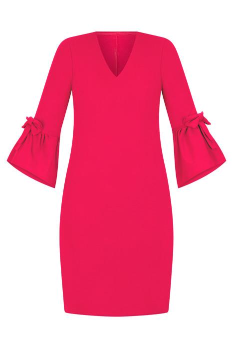 Sukienka Efekt koralowa prosty fason rękaw z kokardą