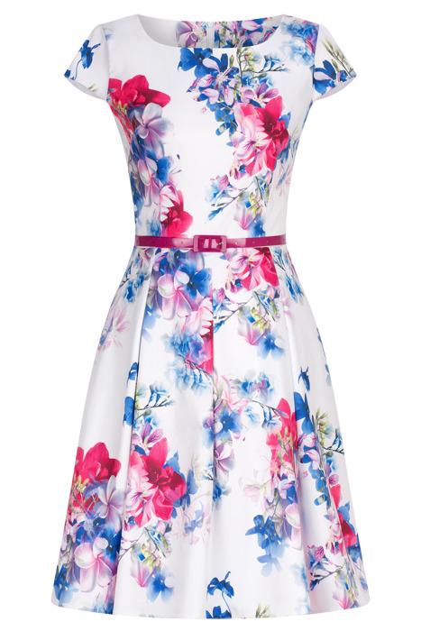 Sukienka Gotta biała w kolorowe kwiaty z paskiem w talii