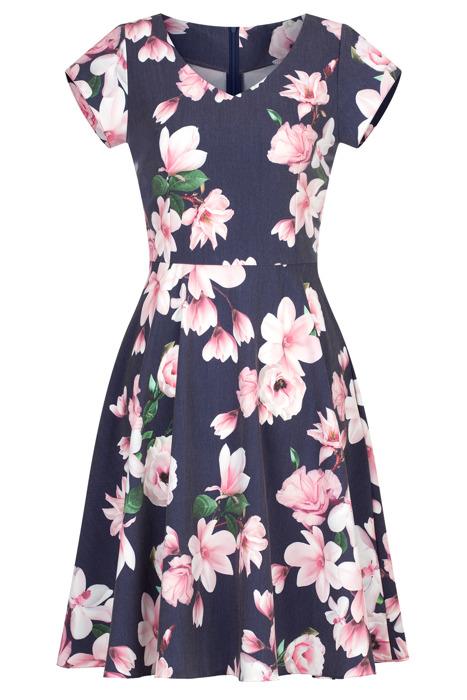 Sukienka Gotta szara w kwiaty rozkloszowana bawełniana