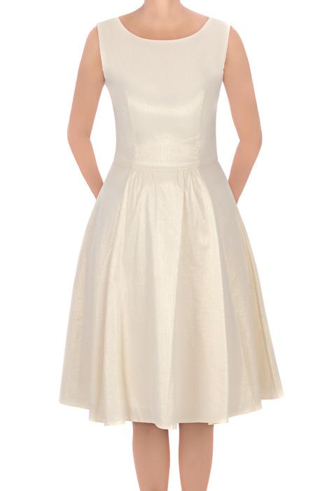 Sukienka J.S.A. Zyta kremowa rozkloszowana
