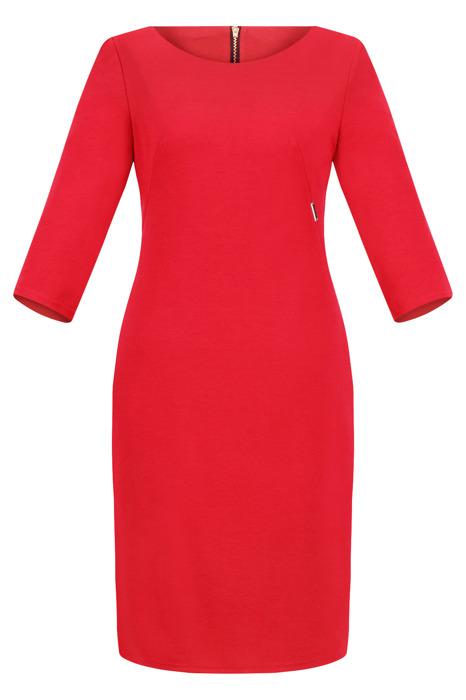 Sukienka Kolor dzianinowa, codzienna, do pracy czerwona