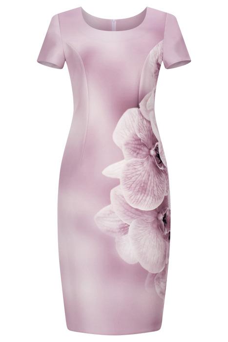 Sukienka Kolor wrzosowy w kwiaty prosta