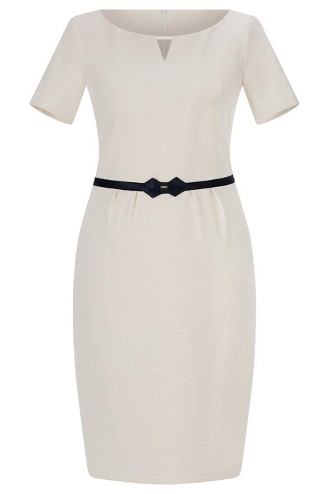 Sukienka Trynite K-1175 ecru z ozdobną tasiemką w talii