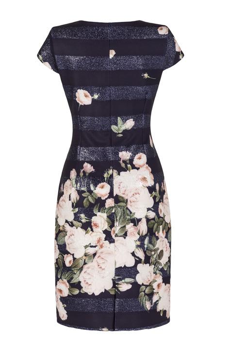 Sukienka granatowa w łososiowe kwiaty oraz pasy