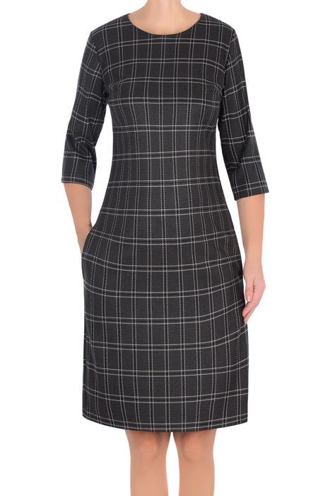 Wizytowa sukienka 2957 szara w kratkę