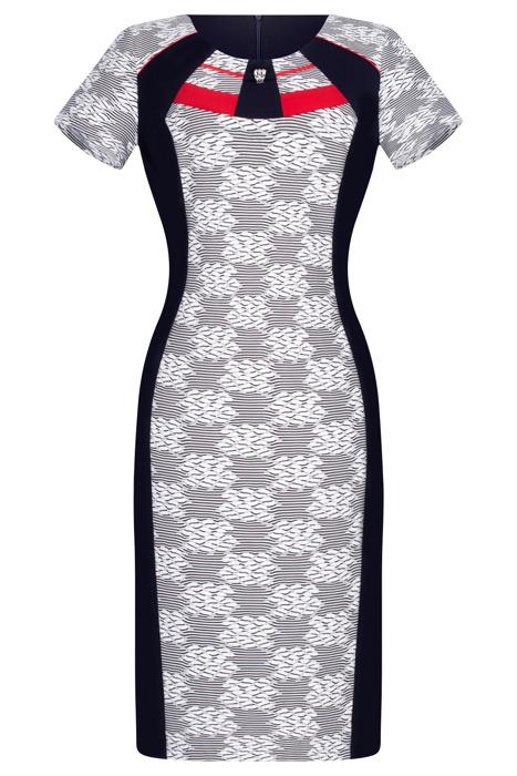 Wizytowa sukienka Andrea granatowo-biała w geometryczne wzory