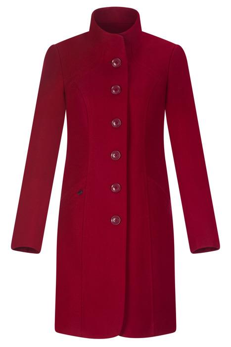 Zimowy płaszcz damski Huna Rozalia czerwony ze stójką