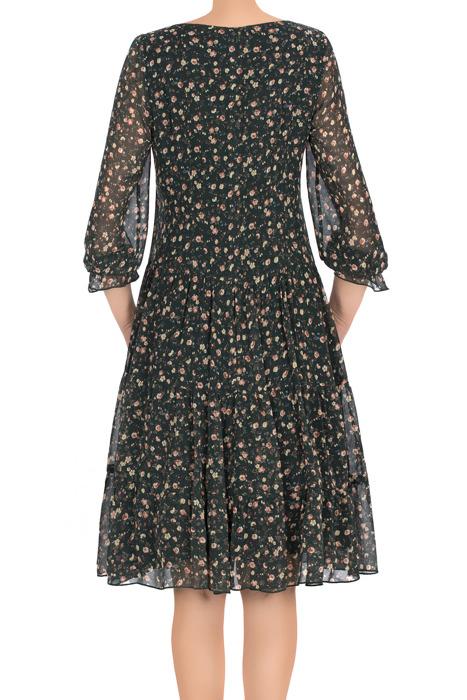 Zwiewna sukienka Pola zielona w małe kwiaty