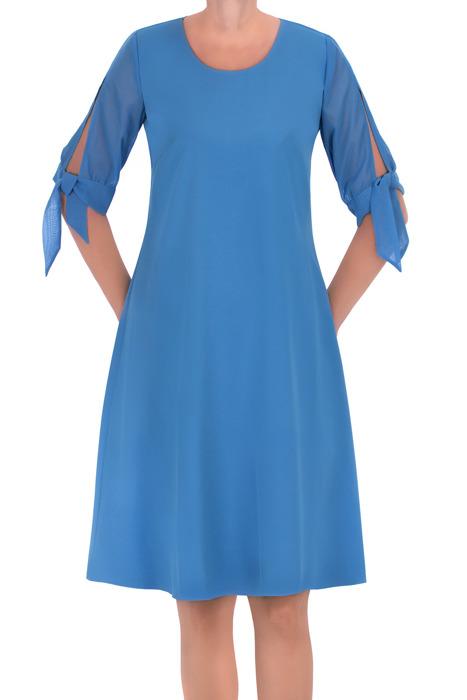 Zwiewna sukienka Żan-Mar trapezowa błękit królewski