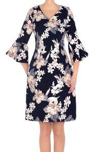 Elegancka sukienka Mirona granatowa w beżowe kwiaty 3189
