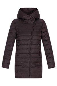 Pikowany płaszcz damski Plist PT9918 śliwkowy z kapturem na zimę