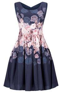 Sukienka Cller granatowa rozkloszowana o motywie kwiatowym