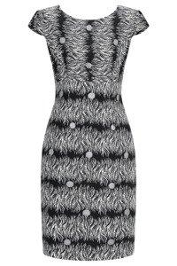 Sukienka Dagon 2350 czarna w szaro-kremowy wzór